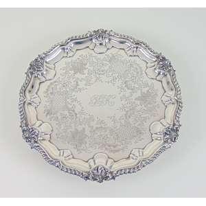 Salva espessurada á prata Sec XIX- 30 cm de diâm.