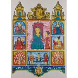 FERNANDO LOPES -Oratório - Guache sobre papel - CID - 67 x 47 cm.
