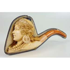 Cachimbo de espuma do Mar representando busto de Jovem , acompanha seu estojo original .Europa Séc XIX - 17 cm de comp Coleção Mielenhausen