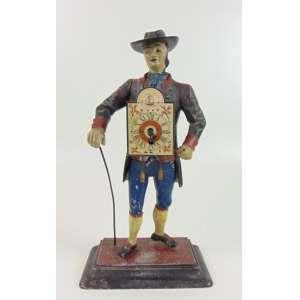 Curioso Relógio Folk Art em pewter policromado -Inglaterra Séc XIX ( No estado ) - 34 cm de alt.