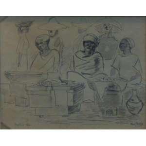 O. Goeldi - Sem Título Vendedoras de acarajé - Mista sobre papel / Cid - 1941 - 23 x 28,5 cm