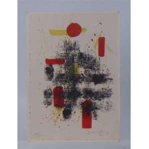 A.BANDEIRA - Abstrato , gravura a metal assinada a lápis no canto inferior direito Dat. 60 - 48 x 34 cm.