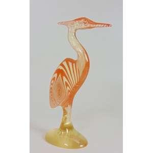 Palatinik - Garça laranja - Assinado - 29 cm de alt.