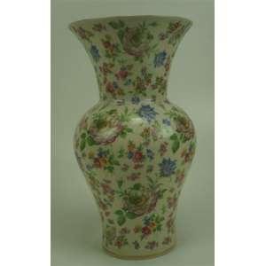 Vaso em porcelana esmaltada com motivos florais manufatura Bavaria - 34 cm de alt e 18 de diâm.