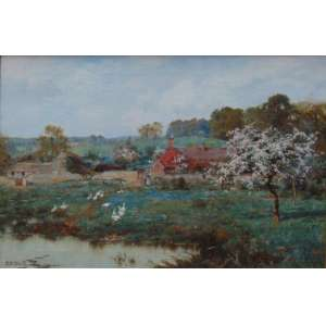 E.W. Waite - Paisagem com lago - OST/CIE - 50 x 77 cm. Edward Wilkins Waite RBA (14 de abril de 1854 - 1924) foi um pintor paisagista inglês. Ele foi educado na Escola de Gramática Mansion House em Leatherhead. Em 1874 ele viajou para Ontário , no Canadá, para trabalhar como lenhador . Em seu retorno, ele começou a pintar como profissão, expondo frequentemente na Royal Academy , Londres, de 1878 a 1919. Ele também expôs em muitas outras grandes galerias, em Londres e nas regiões, e tornou-se membro da Royal Society of British. Artistas (RBA) em 1893.