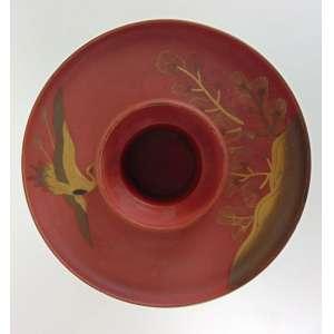 Castiçal em fina laca Rouge de Fer decorado com pássaros em dourado -Japaõ Sec XIX- 14 cm de alt e 17 de diâm. Coleção Hans Helmut Steffens