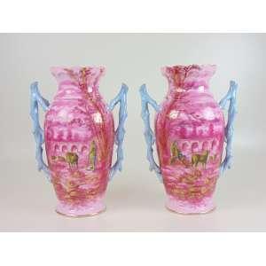 Par de vasos de porcelana Velho Paris - 40 cm de alt e 18 de diâm.