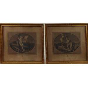 Conjunto de quatro gravuras com menino - 35,5 x 42 cm.