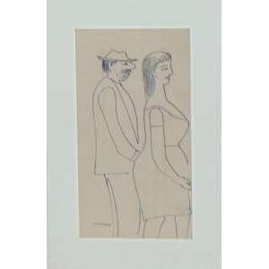 F. Pennacchi - Sem Título (O Casal) - Caneta hidrográfica sobre papel Cie - 1980 - 17,5 x 9,5 cm