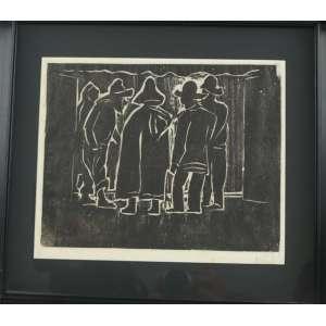 GOELDI - Pescadores , Xilogravura - 23 x 27 cm, Tiragem de J.Pasello para a historia da Gravura no Brasil .