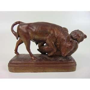 ISODORE BONHEUR - Escultura de bronze - Urso e touro - 11 cm de alt, 18 x 7 cm.