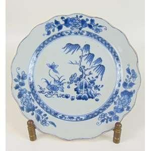 Prato de porcelana esmaltada decoração padrão Blue and White -China Sec XVIII- 22 cm de diâm.