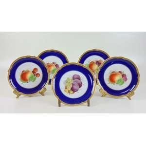 Lote com 5 pratos com desenho de frutas - Rosenthal - 22 cm de diâm.