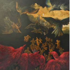 MARIO GRUBER - Revoada de Astolfos - OST colada na madeira/CID - dat 90 - 85 x 85 cm. -
