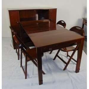 Móvel design de madeira de lei - Executado no Liceu de Arte - 30/40 - Peça piloto reversível a sala de jantar - composta por sala de jantar e 6 cadeiras - Assinado - 16 cm de alt, 136 de comp, 53 de prof (fechado)e 205 cm aberto