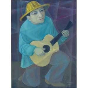 HARRY ELSAS - Figura com violão - OST / CID - dat 84 - 80 x 60 cm.