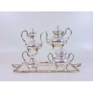 Jogo de chá e café 5 peças,bule de chá, bule de café, açucareiro, leiteira e bandeja - 48 x 40 cm. metal espessurado a prata - Inglaterra