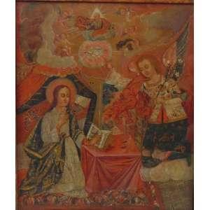 Escola de Quito fina pintura representando a Anunciação - OST - 51 x 46 cm. Equador Séc XVIII