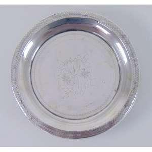 Salva de prata de lei ricamente trabalhada contraste L COROA estilo Império .Portugal Séc XIX - 17 cm de diâmetro