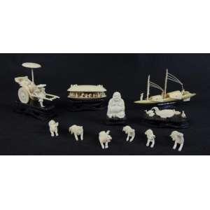 Lote de marfim - 11 peças de marfim - Maior com 10 cm de comp e 18 de alt e menor com 4 cm de alt.