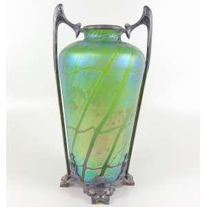 Vaso em vidro artístico Loetz, armação fino bronze, art Noveaux - 35 cm de alt, 21 de diâmetro.