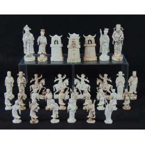 Peças jogo de Xadrez de marfim - 32 - (6 no estado)