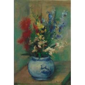 RENNE LEFREVE - Vaso de flores = OST / CID - 54 x 36 cm