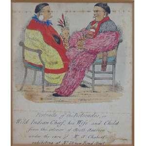 AUTOR NÃO IDENTIFICADO -Portrait of the Botocudos- Desenho a nanquim e aquarela sobre papel, representando chefe indígena e sua familia. localizado interior da América do sul (obra não emoldurada)