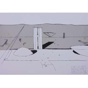 Oscar Niemeyer -Congresso NacionalSerigrafia H.C / CID - 50 x 70 cm. Obra não emoldurada. Apresenta manchas amareladas na parte cinza.