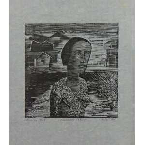 Samico -Figura e Casas - Xilogravura / CIE - PA - DAT 1958 - 28 x 23 cm. Apresenta leves manchas amareladas (no estado). Obra não emoldurada.