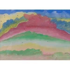 JOSÉ ANTONIO DA SILVA - Céu Expressionista - Aquarela/CIE - Dat. 1985 - 28 x 37 cm.
