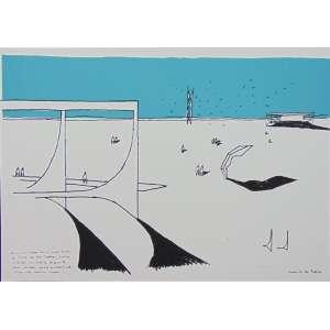 Oscar Niemeyer -Praça dos Três PoderesSerigrafia H.C / CID - 50 x 70 cm. Obra não emoldurada. Leves sinais de fungos no céu