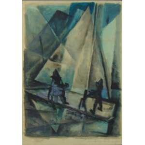 Harry Elsas - Barco com figuras - Aquarela - CID - dat 1956 - 52 x 37 cm