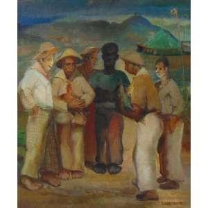 CESAR LACANNA - Briga de galos - OST/CID - 45 x 38 cm. Com carimbo da exposição no Museu Nacional de Belas Artes - RJ - década de 1940