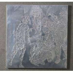 ALBANO AFONSO, da sérieOs Banhistas , 1998, Alumínio perfurado sobre madeira, ass. no verso, 56 x 54 cm.