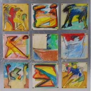 IVALD GRANATO - ST - Nove desenhos em técnica mista sobre cartões 14 x 14 cm cada, montados em estrutura de madeira patinada de dourado - 50 x 50 cm - Assinado e datado 1999 no verso. <br />