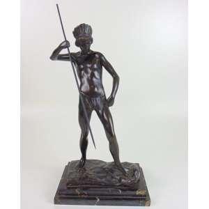 ELIO DE GIUSTO - Indio Caçador - bronze - Assinado - 49 cm de alt.