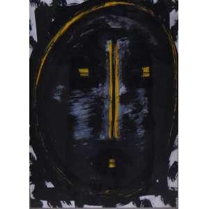 ARTHUR BARRIO - Máscara com amarelo - Técnica mista sobre Papel - Assinado no verso - dat 1983 - 41 x 29 cm.