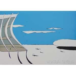 Oscar Niemeyer -Catedral de Brasilia- Serigrafia H.C / CID - 50 x 70 cm. Obra não emoldurada. Apresenta manchas de fungo na parte azul e pequenos pontos amarelados na parte branca.