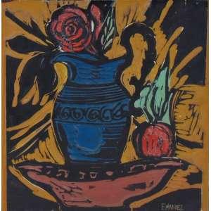 EMANUEL ARAÚJO - S/T - Matriz de xilogravura colorida / CID - 30 x 30 cm.