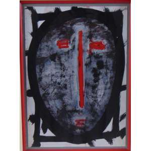 ARTHUR BARRIO - Máscara com Vermelho - Técnica mista sobre Papel - Assinado no verso - dat 1983 - 41 x 29 cm.