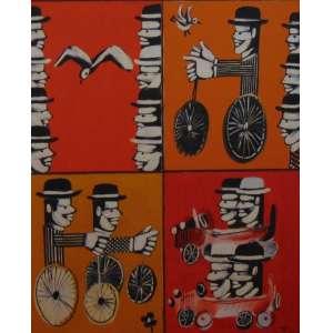 YANNIS GAITIS - S/T - Quadríptico - OST - 122 x 100 cm, assinado verso. <br />