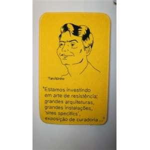 MARTA NEVES, Tarcisinho, bordado sobre tapete amarelo em polipropileno, ass. no verso, 2001, 60 x 38 cm.