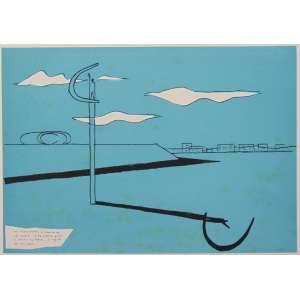 Oscar Niemeyer -Memorial JKSerigrafia H.C / CID - 50 x 70 cm. Obra não emoldurada.Apresenta manchas de fungos na área colorida.