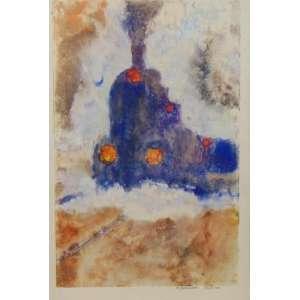 ARMANDO BALLONI - Trem - Monotipia s/ papel - CID - dat 1968/69 - 41 x 26 cm