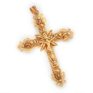 Crucifixo de ouro 14k com trabalho de filigrana. Europa séc. XIX. Cerca de 8,0cm e 12.7g.