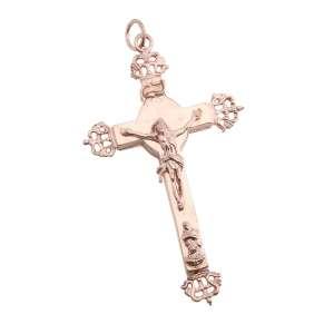 Crucifixo/relicário de prata de lei dourada. Cerca de 9,5cm.