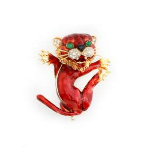 E. DI CAVALCANTI - Belissimo broche de ouro 18k, representando felino, finamente esmaltado e adornado por diamantes e cabochons de esmeralda. Cerca de 44,0g.