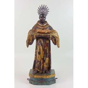 São Benedito - imagem de madeira lavrada e policromada - Brasil - Séc 18 - 20 cm de alt, 21 x 15 cm