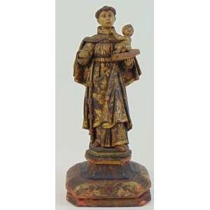 Santo Antonio - Bela imagem de madeira lavrada e policromada - Brasil Séc XVIII - 36 cm alt.